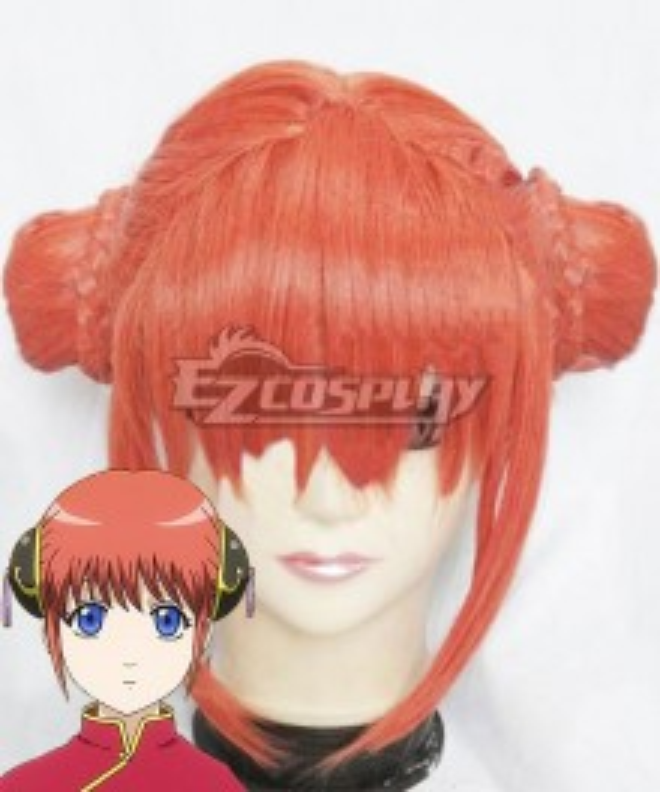 Gintama Kagura Meatball Head Orange Cosplay Wig