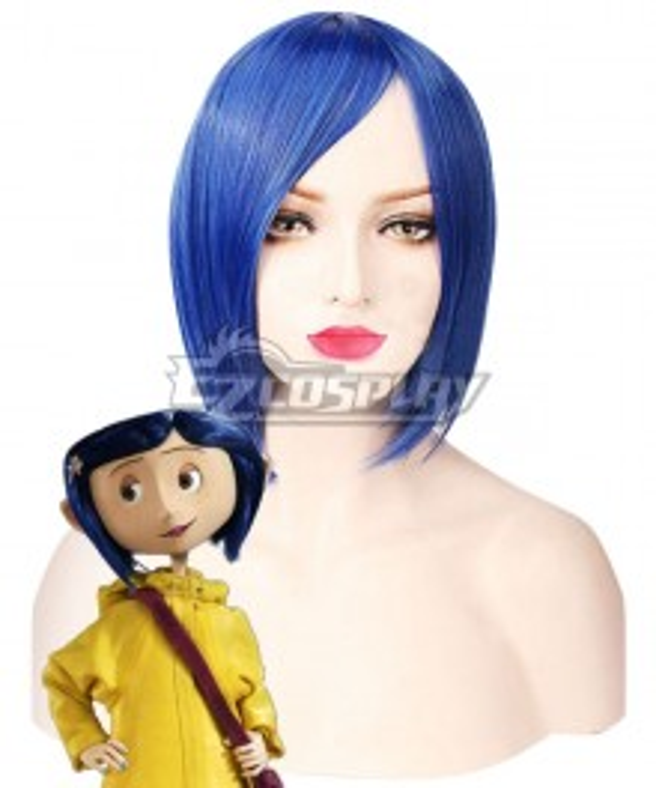 Halloween Coraline 2009 Movie Blue Cosplay Wig