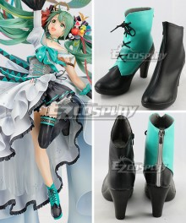 Hatsune Miku 10 Year Anniversary Blue Green  Cosplay Shoes