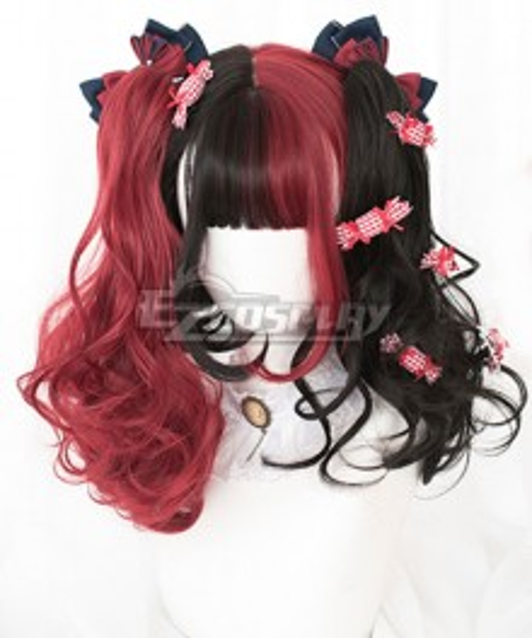 Japan Harajuku Lolita Series Double Horsetail Black Red Cosplay Wig