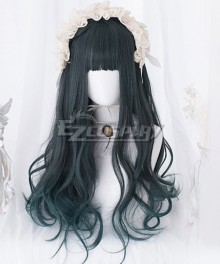 Japan Harajuku Lolita Series Double Horsetail Deep Green Cosplay Wig