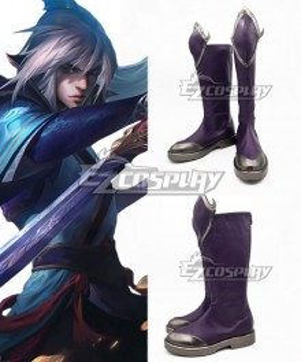 League Of Legends LOL Enduring Sword Talon Purple Shoes Cosplay Boots