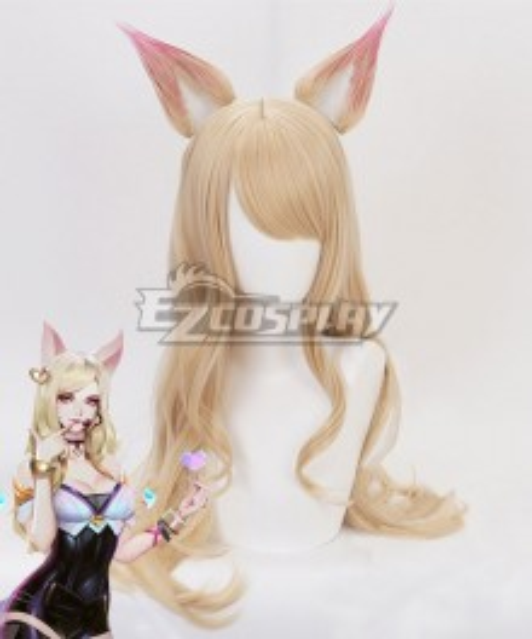 League Of Legends LOL K/DA Ahri Light Brown Cosplay Wig - Wig + Ears