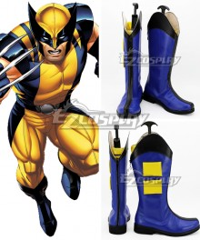Marvel Wolverine Blue Shoes Cosplay Boots