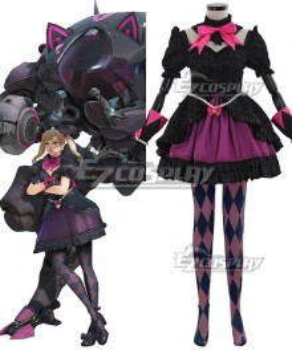 Overwatch OW Black Cat D.Va Dva Hana Song Skin Cosplay Costume