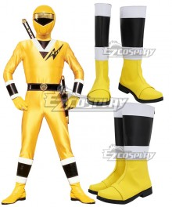 Power Rangers Ninja Sentai Kakuranger NinjaYellow Yellow Shoes Cosplay Boots