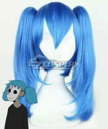 Sally Face Sal Fisher Halloween Blue Cosplay Wig