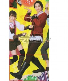 Super Sentai Ryusoul Red Koh Black Shoes Cosplay Boots