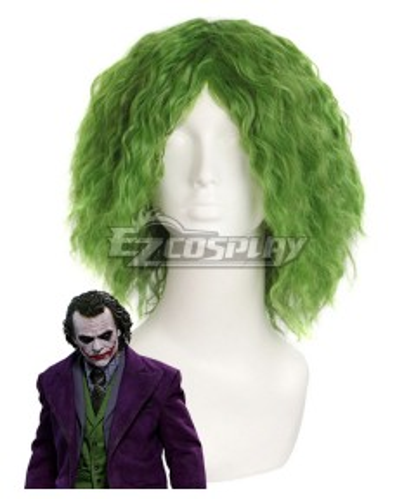 DC Comics The Dark Knight Joker Short Grass Green Fluffy Curly Hair Cosplay Wig