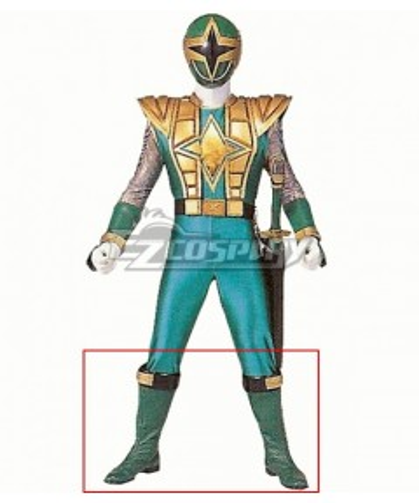 Power Rangers Ninja Storm Green Samurai Ranger Green Shoes Cosplay Boots