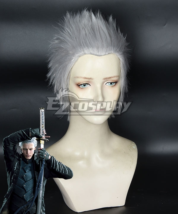 Devil May Cry 5 DMC5 Vergil Silver Cosplay Wig