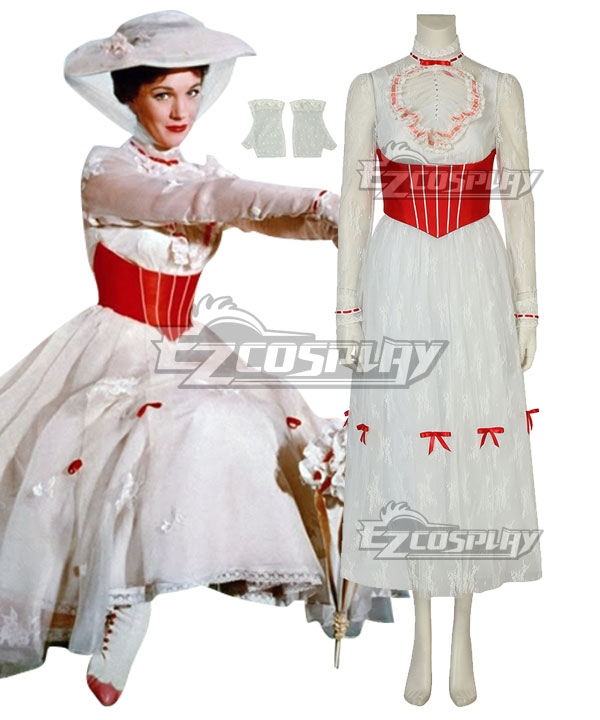 1900 Edwardian Dresses, Tea Party Dresses, White Lace Dresses Disney Mary Poppins Cosplay Costume - C Edition $105.99 AT vintagedancer.com