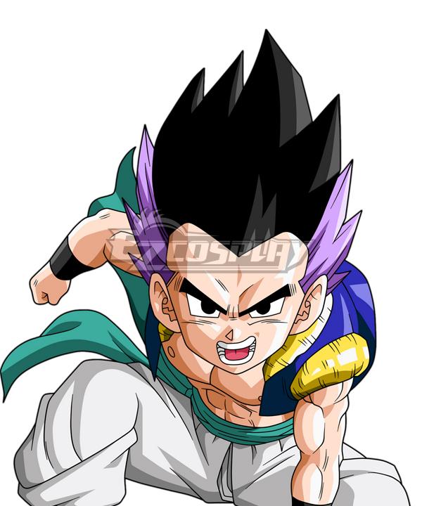 Dragon Ball Super Gotenks Black Purple Cosplay Wig