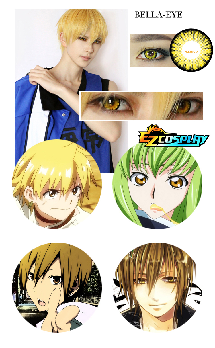 Bella Eye Generation of Miracles Kuroko's Basketball Kise Ryota Yellow Cosplay Contact Lense