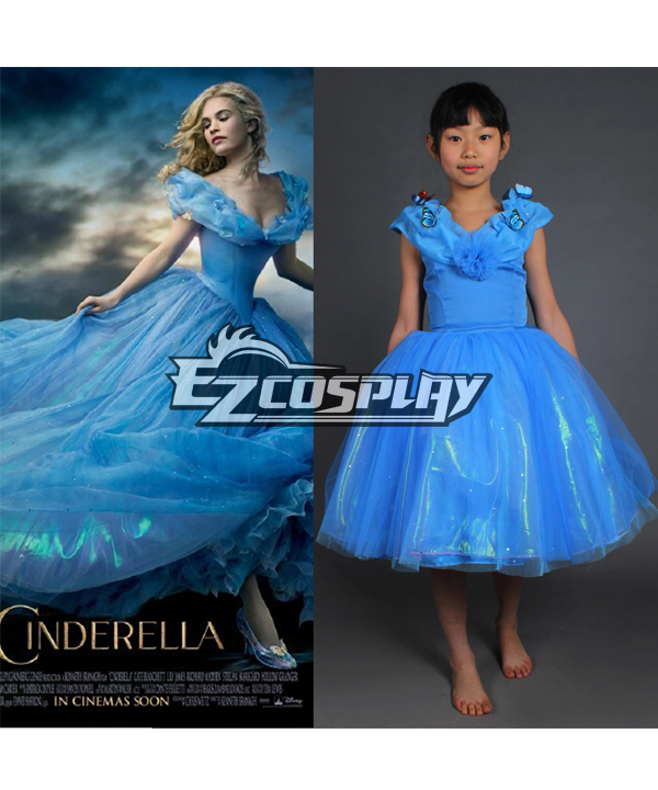 2015 Newest Cinderella Dress for Kids New Cinderella Movie Cosplay Costume Kids Dress