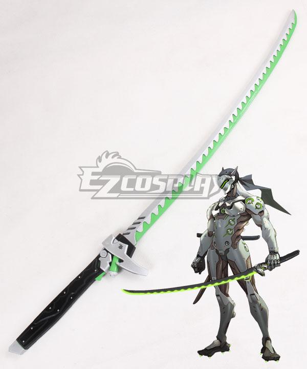 Overwatch OW Genji Shimada Long sword Green Cosplay Weapon Prop