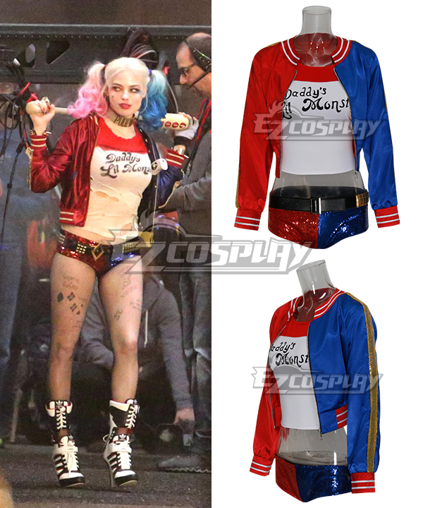 DC Comics New Batman Suicide Squad Harley Quinn Blue- Red Cosplay Costume Outfit