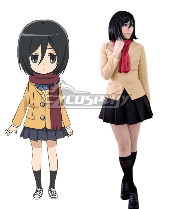 Shingeki! Kyojin Chuugakkou Attack On Titan: Junior High Ackerman Mikasa Cosplay Costume