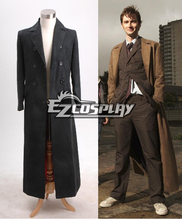 1930s Men's Clothing Who is Doctor Dr. Long Trench Coat Costume Black Version Tailorede $137.99 AT vintagedancer.com