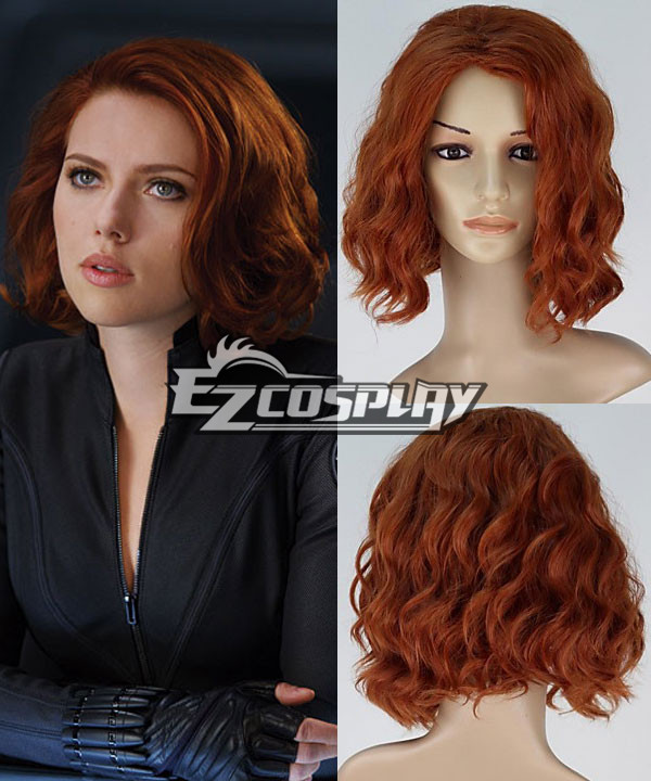 The Avengers Natasha Romanoff Black Widow Short Curly Auburn Cosplay Wig