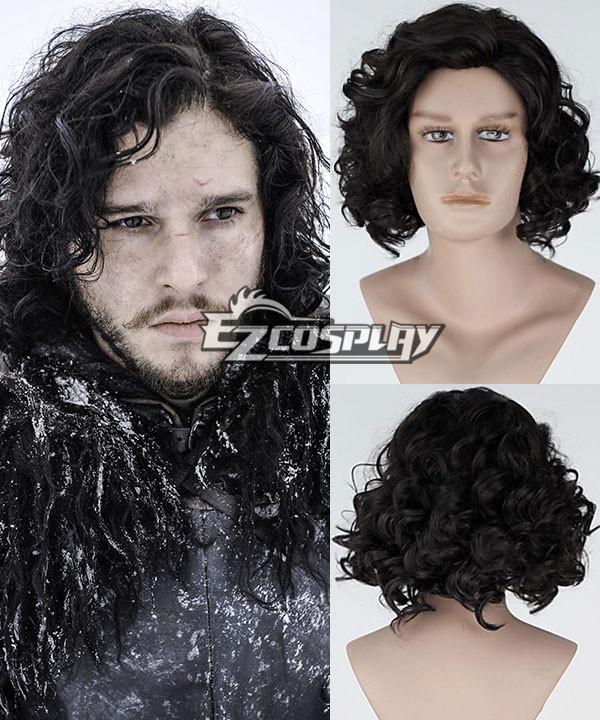 Game of Thrones Jon Snow Short Curly Black Cosplay Wig