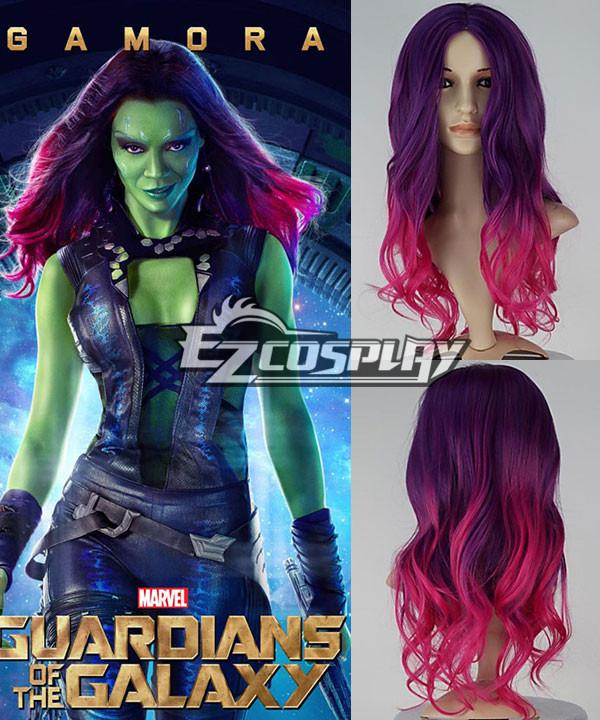New Movie Guardians of the Galaxy Gamora Long Wavy Gradient Purple & Pink Cosplay Wig