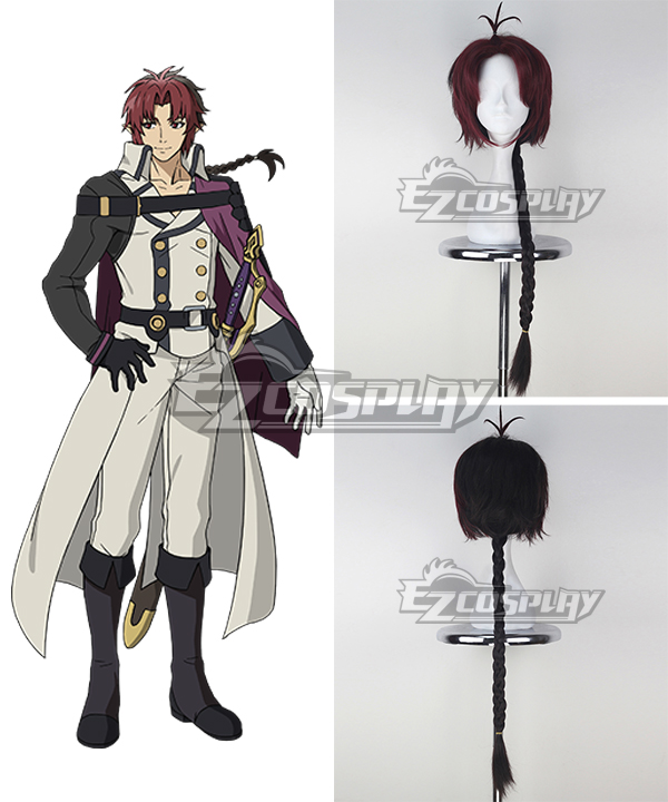 Seraph of the End Vampire Reign Owari no Serafu Crowley Eusford Long Red And Black Cosplay Wig