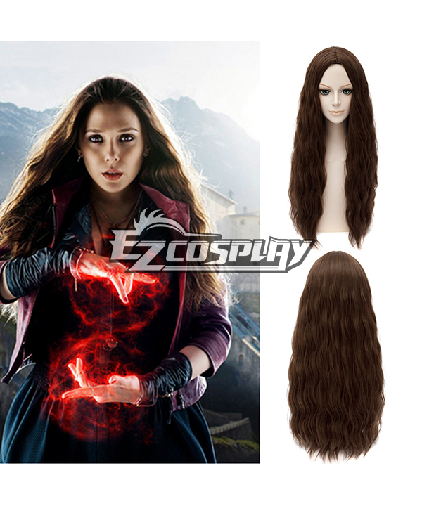 Marvel Avengers: Age of Ultron Scarlet Witch Long Curly Brown Cosplay Wig