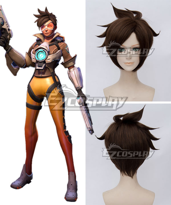 Overwatch OW Tracer Lena Oxton Brown Cosplay Wig