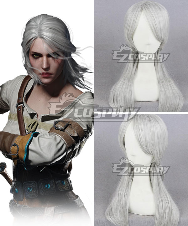 The Witcher 3 Wild Hunt Cirilla Silver grey Cosplay Wig