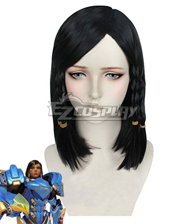 Overwatch OW Pharah Black Cosplay Wig