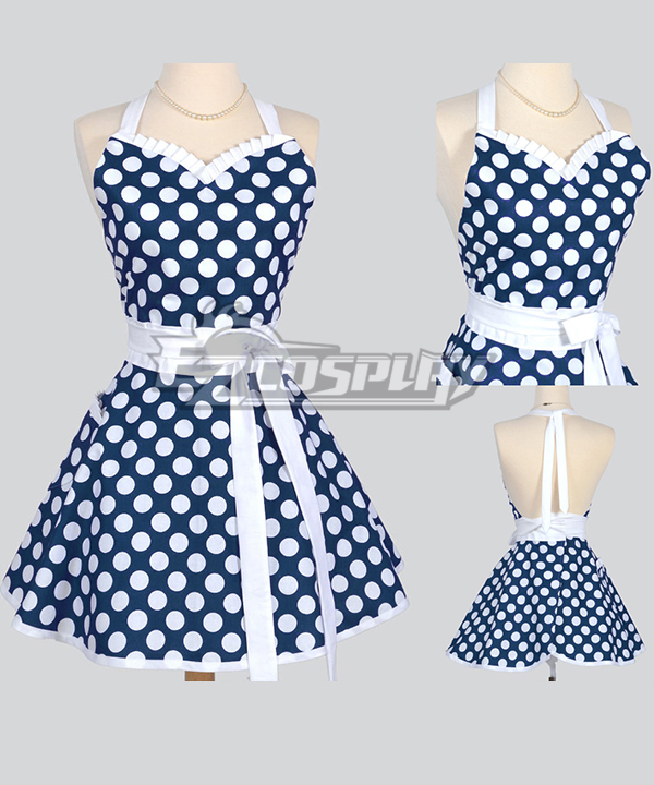 Vintage Aprons, Retro Aprons, Old Fashioned Aprons & Patterns Classic Flirty Apron Blue and White polka dot apron with White Ties personalized monogrammed sexy cute woman kitchen cool apron Cosplay $31.99 AT vintagedancer.com