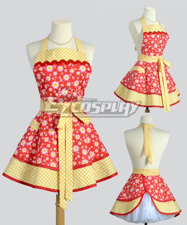 Chinese | Cotton | Orange | Apron | Retro | White | Full | Dot