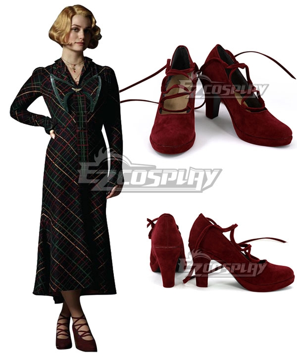 Art Deco Shoes Styles of the 1920s and 1930s Fantastic Beasts The Crimes Of Grindelwald Queenie Goldstein Red Cosplay Shoes $32.99 AT vintagedancer.com