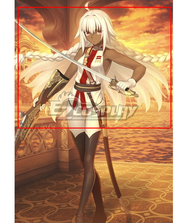 Fate Grand Order Cosmos in the Lostbelt Saber Rani of Jhansi White Pink Cosplay Wig