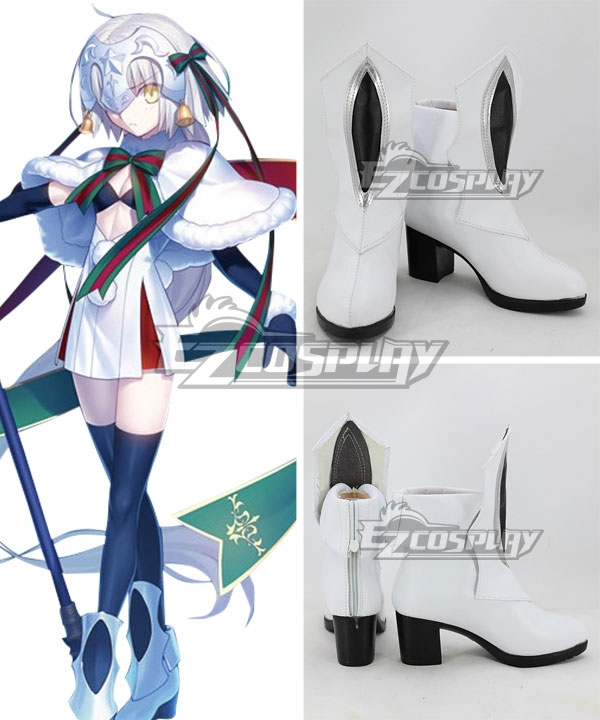 Fate Grand Order Fate Apocrypha Joan of Jeanne d'Arc Alter Santa Lily Christmas Day White Shoes Cosplay Boots