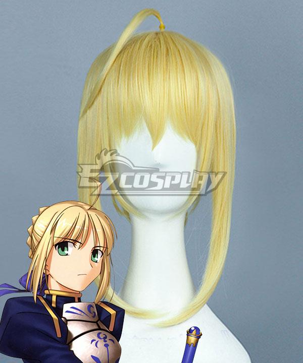 Fate Stay Night Fate Zero Saber Altria Pendragon King Arthur Yellow Cosplay Wig - B Edition