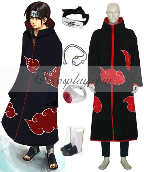 Naruto Uchiha Itachi Cosplay Costume Shoes and Accessories Set