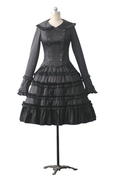 Steampunk Dresses | Women & Girl Costumes Gothic Lolita Tiered Frill Dress $90.99 AT vintagedancer.com