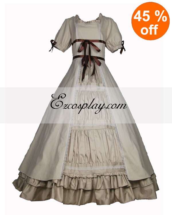 Victorian Dresses, Clothing: Patterns, Costumes, Custom Dresses Cutton Off-white Short Sleeve Gothic Lolita Dress $117.99 AT vintagedancer.com