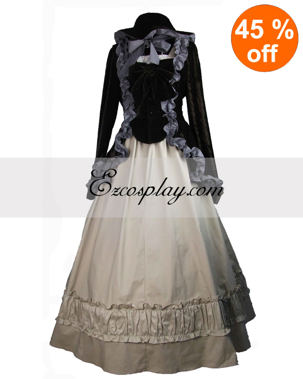 Vintage Style Wedding Dresses, Vintage Inspired Wedding Gowns Black Coat and Gothic Lolita Dress $117.99 AT vintagedancer.com