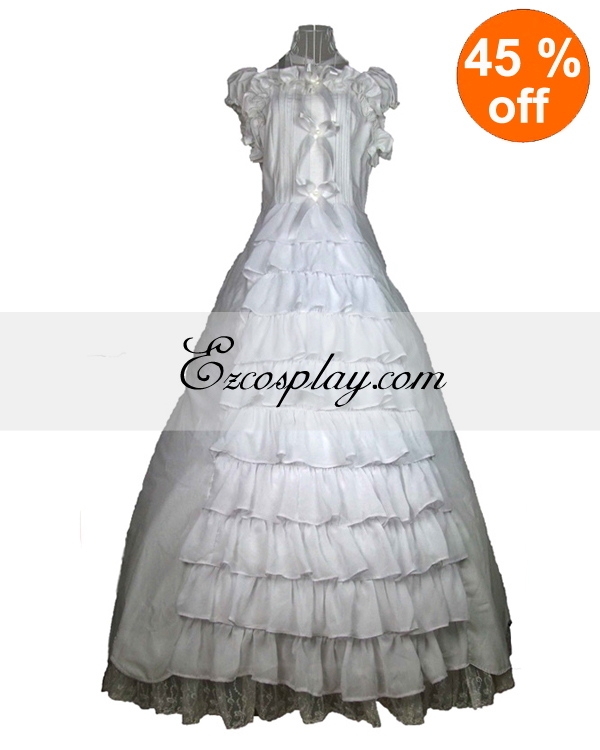 Vintage Style Wedding Dresses, Vintage Inspired Wedding Gowns Cutton White Lace Sleeveless Gothic Lolita Dress $117.99 AT vintagedancer.com