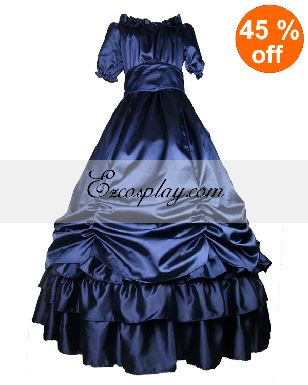 Victorian Dresses | Victorian Ballgowns | Victorian Clothing Satin Deep Blue Short Sleeve Classic Lolita Dress $117.99 AT vintagedancer.com