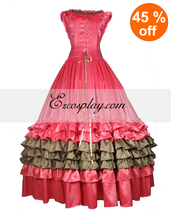 Victorian Dresses | Victorian Ballgowns | Victorian Clothing Satin Pink Sleeveless Gothic Lolita Dress $117.99 AT vintagedancer.com