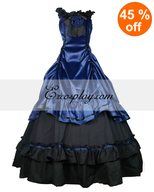 Victorian Plus Size Dresses | Edwardian Clothing, Costumes Satin Blue Black Classic Lolita Dress $117.99 AT vintagedancer.com