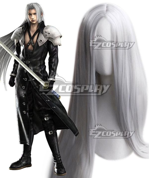 Final Fantasy VII Sephiroth Silver White Cosplay Wig