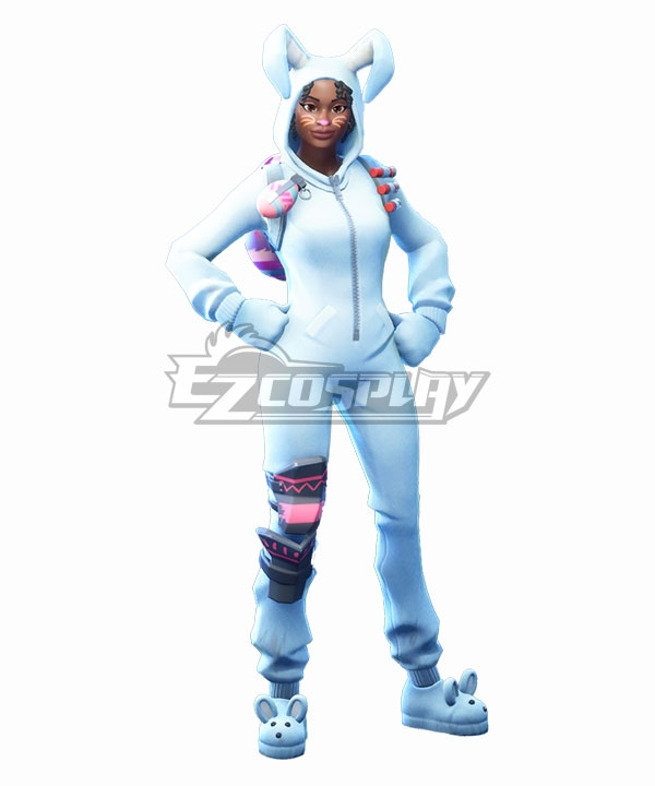 Fortnite Battle Royale Bunny Brawler Cosplay Costume - Only Jumpsuit, Gloves