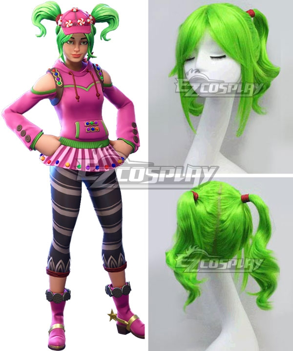 Fortnite Battle Royale Zoey Green Cosplay Wig