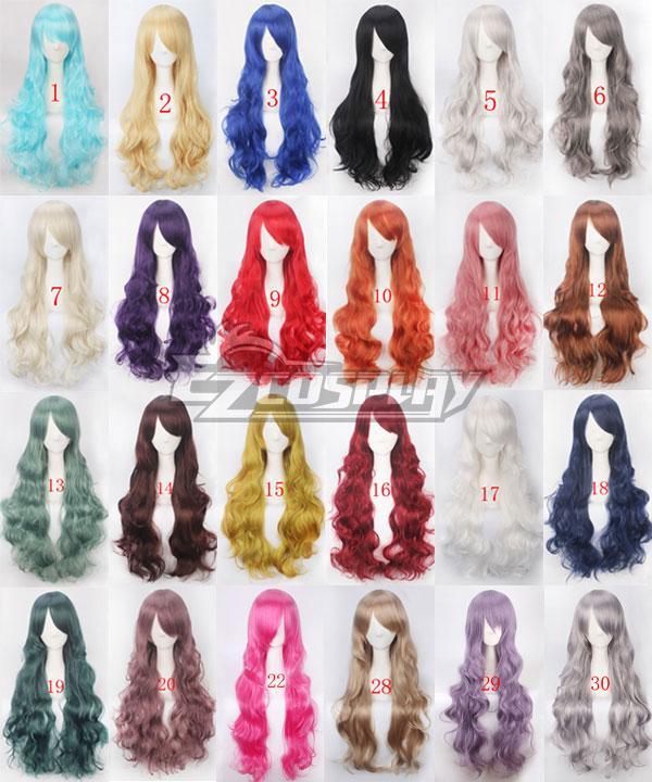 General Cosplay Long 80cm Wigs Curly Hair Bangs