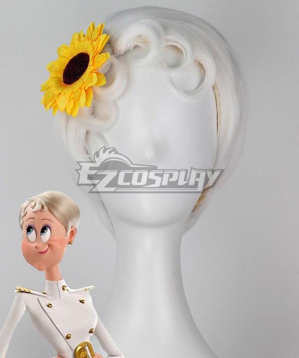 Hotel Transylvania 3 Erika Van Helsing White Cosplay Wig - Wig + Flower
